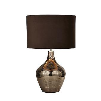 søkelys - bordlampe røkt mosaikk brun semsket skygge