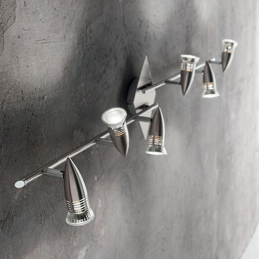 Ideal Lux Alfa - 6 Light Réglable Spotlight Bar Nickel, GU10