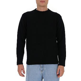 Laneus Mgu563cc9blk Men's Zwarte Wollen Trui