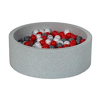 Stopka 90 cm z 300 kulkami z perły, czerwieni i szarości