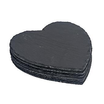 Vajilla de argón corazón forma pizarra natural Placemats - conjunto de 6