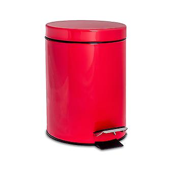Bathroom Pedal Bin with Removable Inner Bucket, 3 Litres - Red Finish