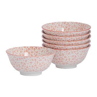 Nicola Spring 6 Piece Daisy Patterned Cereal Bowl Set - Porcelain Breakfast Dessert Serving Bowls - Coral - 16cm