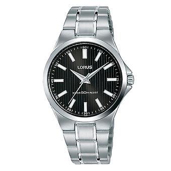 Lorus Ladies Edelstahl Armbanduhr mit schwarzem Sunray Zifferblatt (RG229PX9)