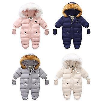 子供冬のジャンプスーツ、毛皮のフードスノースーツ