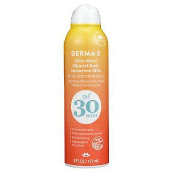 Derma e Ultra Sheer Mineral Body Sunscreen Mist FPS 30, 6 Oz