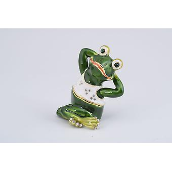 Gymnastic Frog With A White Shirt Trinket Box