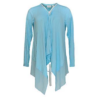 Joan Rivers Classics Collection Women's Sweater Chiffon Draped Blue A263873