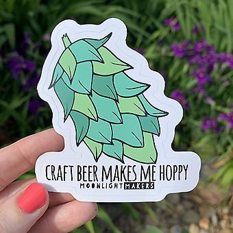 Craft Beer Makes Me Hoppy Die Cut Sticker