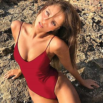 女性ソリッド水着セクシーな包帯1 PC水着バックレス水着ボディスーツ