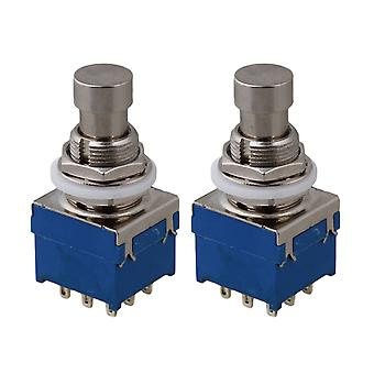 2 Pcs Durable 3PDT 9-Pin Effets Stomp Foot Switch T Bypass
