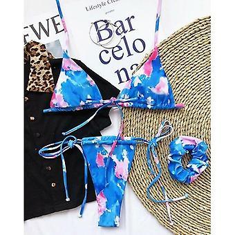 Sexy Tlač Bikini Set Halter Plavky