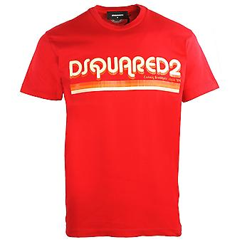 Dsquared2 Cool Fit Disco Fonte Tipo T-Shirt Vermelha