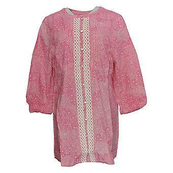 Isaac Mizrahi Live! Woven Crochet Applique Tunic Top Pink/ White A221365