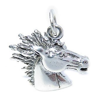 Horse Head Sterling Silver Charm .925 X 1 Equine & Horses Charms - 7178
