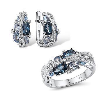 Set di gioielli in argento, scintillanti orecchini spinel blu set di anelli