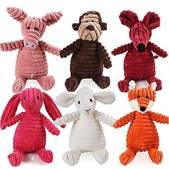 Hedgehog Animals Dog Chew Squeak Fleece Rope Interative Toy Plush