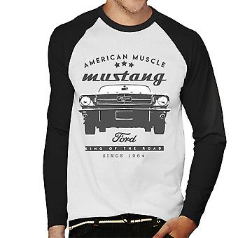 T-shirt Ford Mustang American Muscle Stars uomo da baseball a maniche lunghe