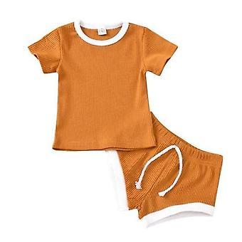 Baby Ribbad stickad kortärmad T-shirts + shorts Träningsoveraller Uppsättningar