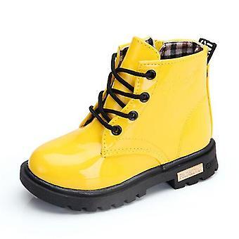 Vinter, vandtætte snestøvler, pu læder, børn varm pels kort støvle,, sneakers