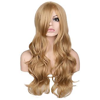 Women & apos;ق موجة كبيرة شعر مستعار ذهبي طويل مجعد
