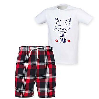 Mens Cat Dad Tartan Short Pyjama Set