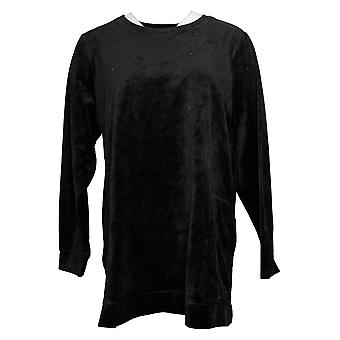 Denim & Co. Women's Top Velour Long Sleeve Tunic Pockets Black A390299