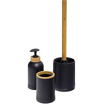 badezimmerset Zen Bambus/PP schwarz/naturl 3-teilig