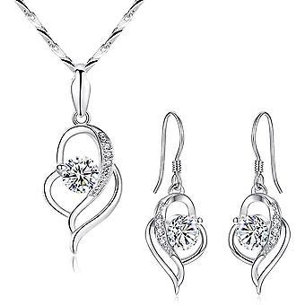 HanFei Silber Schmuckset Damen, 925 Sterling Silber Halskette & Ohrringe Set, Herz Anhnger mit
