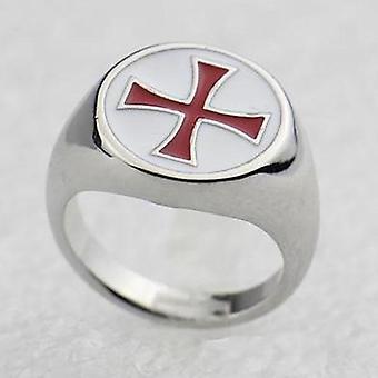 Красная эмаль рыцарей тамплиеров крест серебряное кольцо