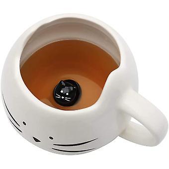 HanFei Kaffeetasse mit Katzen-Motiv, Keramiktasse mit Löffel, Geschenke für Frauen, Mädchen, Männer,