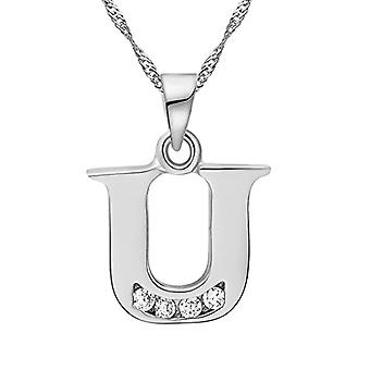 Necklace with pendant in the shape of a letter of the alphabet, for men and women. and base metal, color: Letter U silver, cod. Ref. 4058433105232