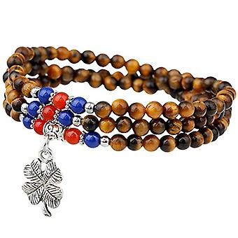 KYEYGWO Chakra Chanceux Multi-gold four-leaf clover, bracelet for women and men, elastic unisex necklace in round Buddhist pearl Ref. 0715444118630
