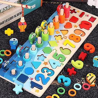 Enfants Multifonctionnel en bois Montessori Jouet, Compter Arithmétique Magnétique