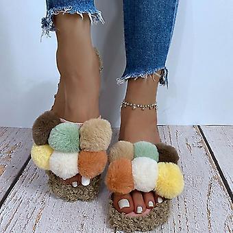 Women Winter Slides Fluffy Furry Flip Flops Home Slippers