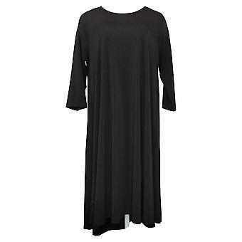 Antthony Dress 3/4-Sleeve Hi-Low Hem Maxi Black 716567