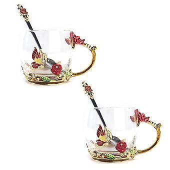 Enamel Flower Glass Mugs - Set of 2   M&W 320ml Red