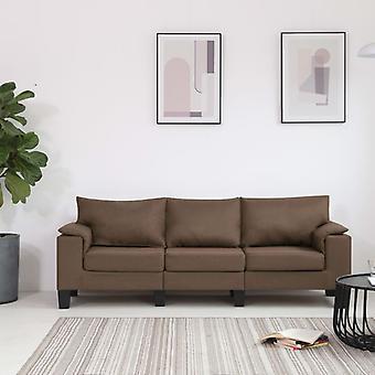 vidaXL 3 fauteuil canapé tissu brun