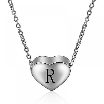 925 Sterling Silver Initial  Letter R Necklace - 18 Inch