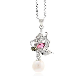 Kobiety Naszyjnik Butterfly S925 Pearl Pendant Obojczyk łańcuszek na prezent urodzinowy