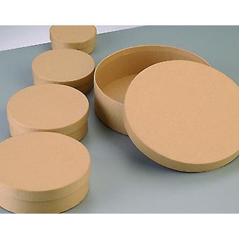 6,5 cm ronde flat paper mache box met deksel te versieren | Papier Mache Dozen