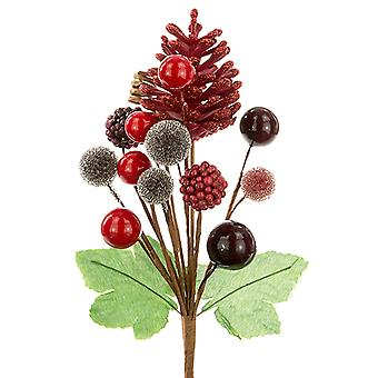 18cm Pinecone and Berry Mixed Pick - Cranberry