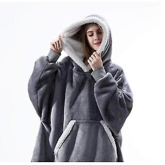 Women's Pajamas Can Wear Lamb Wool Lazy Blanket Hooded Sweater(Grey)