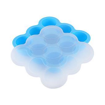 9-hole Silicone Baby Food Supplement Box Storage Box Sealed Fresh-keeping Box Ice Tray Mold-Blue