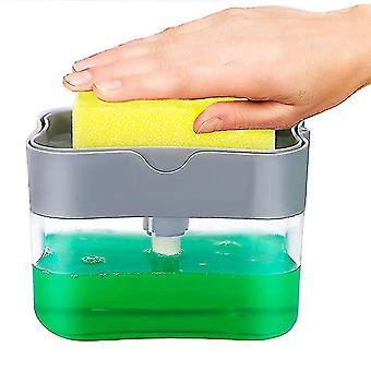 Distributeur de pompe à savon et porte-éponge (gris clair)