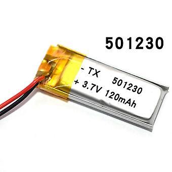 3.7v 120mah 501230 بطارية ليثيوم بوليمر القابلة لإعادة الشحن