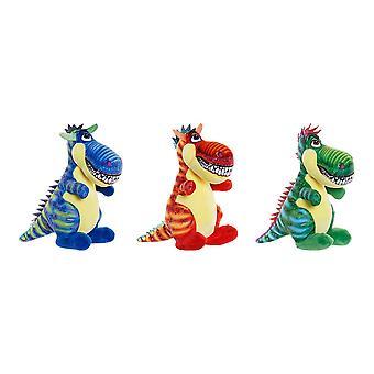 Fluffig leksak DKD Home Decor Polyester Dinosaur (3 st) (13 x 16 x 20 cm)