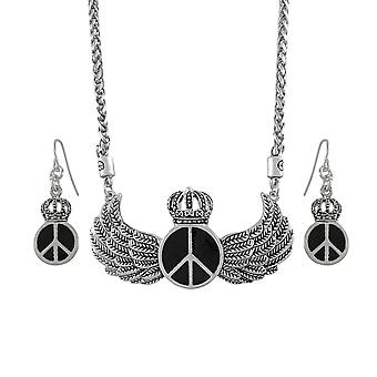Royal Winged Peace Sign Necklace and Dangle Earrings Set