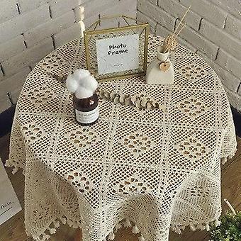 Handgemaakte gehaakte kant ronde tafelkleed tuin gebreid holle literaire kwastje salontafel cover