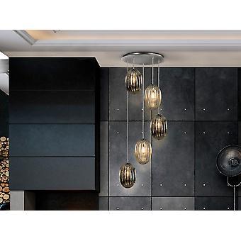 Schuller Ovila Modern Cluster Drop 5 Licht LED Hanglamp, Oval Brandy & Smoke Grey Shades